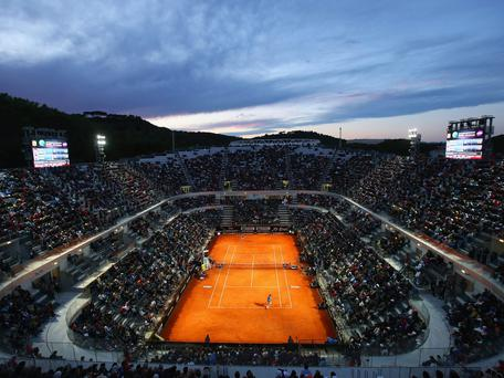 A general view of Rafael Nadal of Spain in action against Gilles Simon of France during day four of the Internazionali BNL d'Italia tennis 2014 in Rome, Italy. (Photo by Julian Finney/Getty Images)