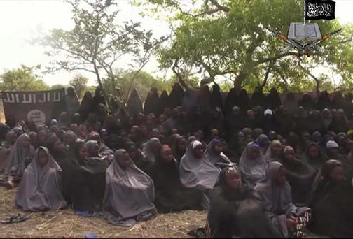 The schoolgirls who were kidnapped by Nigeria's Boko Haram terrorist network three months ago . Photo: AP Photo