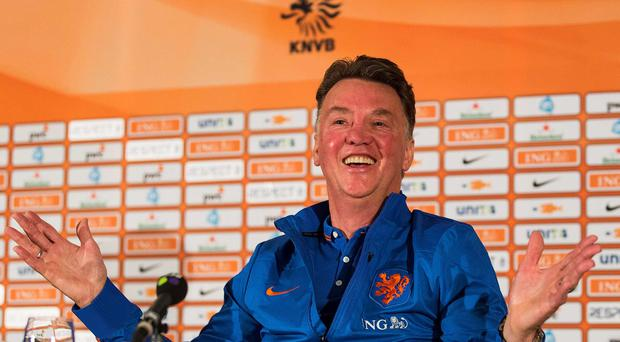 The Netherlands coach Louis van Gaal reacts during a news conference in Hoenderloo. The Dutch national soccer team is preparing for the World Cup 2014 in Brazil. REUTERS/Michael Kooren