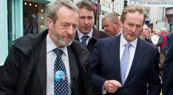 Sean Kelly MEP, pictured with Enda Kenny recently, has pulled ahead in Ireland South