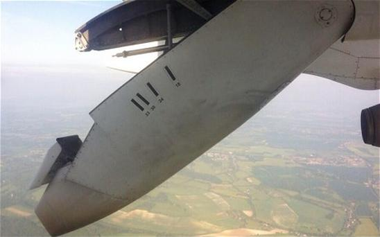 Picture of the wing taken by Cole Moreton who was on board