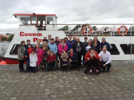 Members of Irish MPS Society before Lough Corrib cruise during May Day weekend
