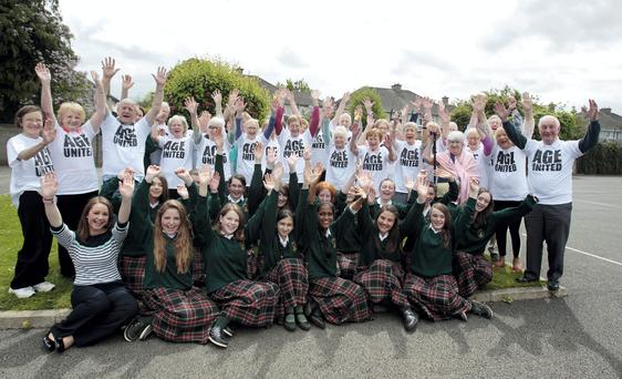 Students and members of the Lucan Active Retirement group at the launch of the video by 2nd year students from St.Joseph's College,Lucan Pic Tom Burke 15/5/14