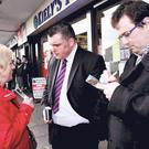 Daithí De Róiste on the campaign trail in Ballyfermot