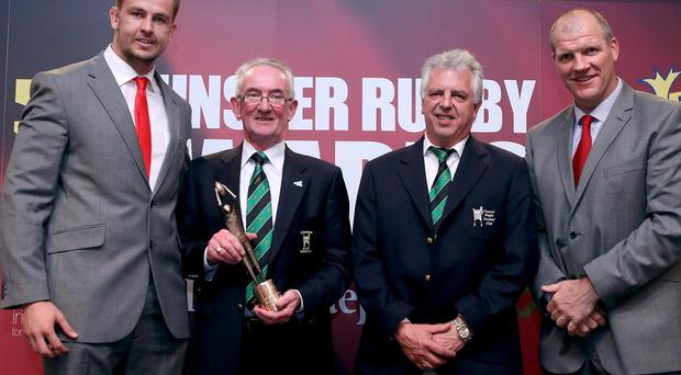 Clonmel win the Junior club of the year award. John Connery and Joe Wisener receives the award on behalf of Clonmel from Dave Foley and Ultan O'Callaghan, Domestic Rugby Manager