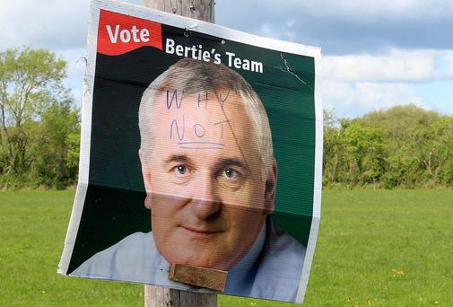 A poster of Bertie Ahern on the main Charleville / Limerick road at O'Rourke's Cross. Picture: Press 22