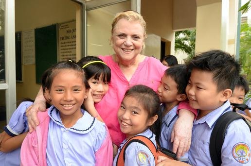 Christina Noble with children in Vietnam