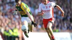 Kevin Hughes chases Tomas O Se during the 2008 All-Ireland football final, and there was plenty of off-the-ball action between the pair too. Photo: Brendan Moran / SPORTSFILE