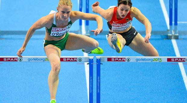 Ireland's Derval O'Rourke, left, will have her fourth place finish at the European Indoor Athletics Championships upgraded one spot