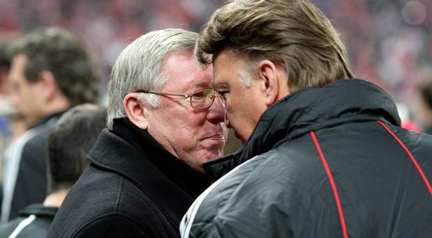 Former Manchester United manager Sir Alex Ferguson, left, and former Bayern Munich manager Louis van Gaal speak after their Champions League quarter-final tie in 2010