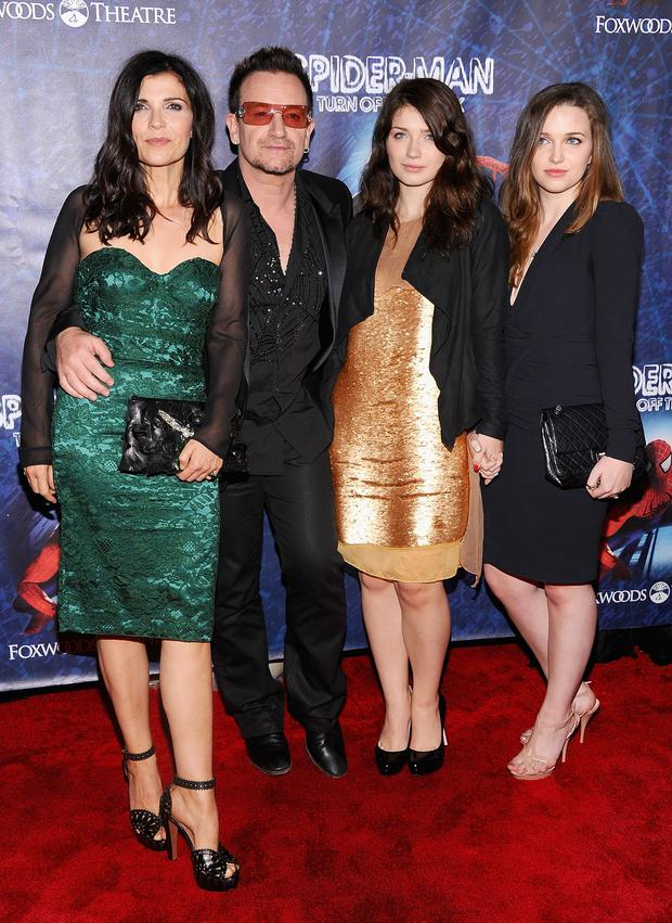 "(L-R)Ali Hewson, Bono of U2, Eve Hewson and Jordan Hewson attend ""Spider-Man Turn Off The Dark"" Broadway opening night at Foxwoods Theatre on June 14, 2011 in New York City."
