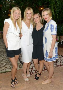LOS ANGELES, CA - MAY 15: (L-R) Actress Gwyneth Paltrow, author Vicky Vlachonis, designer Jennifer Meyer, and actress Cameron Diaz celebrate the launch of The Body Doesn't Lie by Vicky Vlachonis on May 15, 2014 in Los Angeles, California. (Photo by Jason Kempin/Getty Images for Goop)