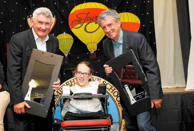 Joanne O'Riordan with Mick O'Dwyer and Billy Keane at the Tarbert Comprehensive School awards night