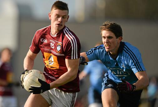 John Heslin, pictured giving Dublin's Michael Fitzsimmons the slip