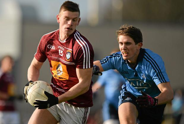 John Heslin, pictured giving Dublin's Michael Fitzsimmons the slip, can help Westmeath get across the line against Louth. Photo: Ray McManus / SPORTSFILE