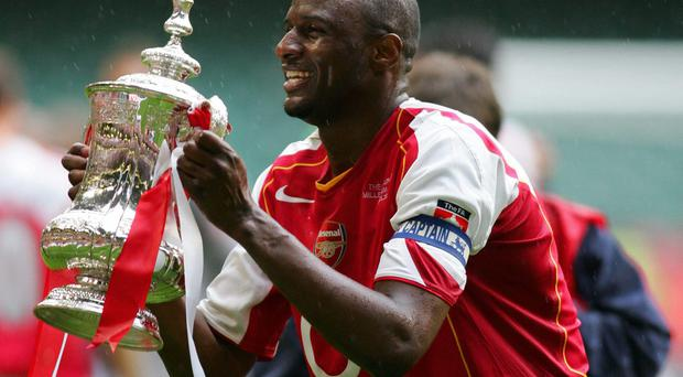 Patrick Vieira was the last man to lift a trophy for Arsenal, the FA Cup in 2005. Photo: ADRIAN DENNIS/AFP/Getty Images