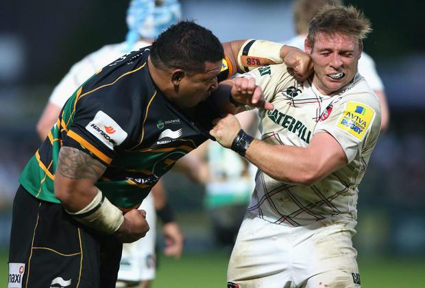 Northampton's Salesi Ma'afu punches Leicester hooker Tom Youngs and was subsequently sent off