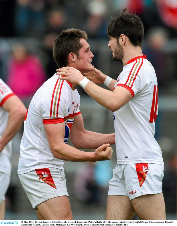 17 May 2014; Declan Byrne, left, Louth, celebrates with team-mate Patrick Reilly after the game. Leinster GAA Football Senior Championship, Round 1, Westmeath v Louth, Cusack Park, Mullingar, Co. Westmeath.. Picture credit: Paul Mohan / SPORTSFILE