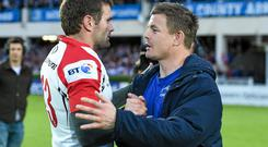 17 May 2014; Brian O'Driscoll, Leinster, commiserates Ulster's Jared Payne after the game. Celtic League 2013/14 Play-off, Leinster v Ulster, RDS, Ballsbridge, Dublin. Picture credit: Brendan Moran / SPORTSFILE