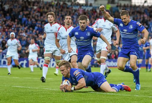 Ian Madigan touches down for the try that secured Leinster their place in the RaboDirect Pro12 final. Photo: Brendan Moran / SPORTSFILE