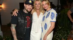 (L-R) Musician Benji Madden, author Vicky Vlachonis, and actress Cameron Diaz celebrate the launch of The Body Doesn't Lie by Vicky Vlachonis