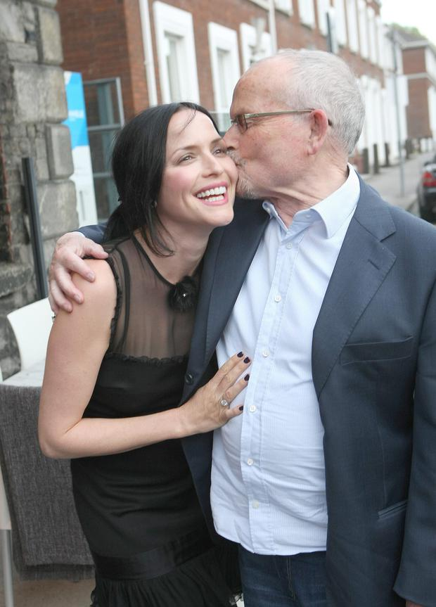 Andrea Corr gets a kiss from dad Gerry on her 40th birthday. Picture: Mark Doyle