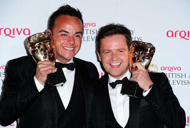 Anthony McPartlin (left) and Declan Donnelly with the Entertainment Performance Award for Ant and Dec's Saturday Night Takeaway, at the Arqiva British Academy Television Awards 2014