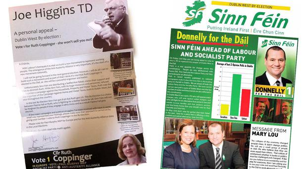 The Joe Higgins letter attacking the Sinn Fein literature (right)