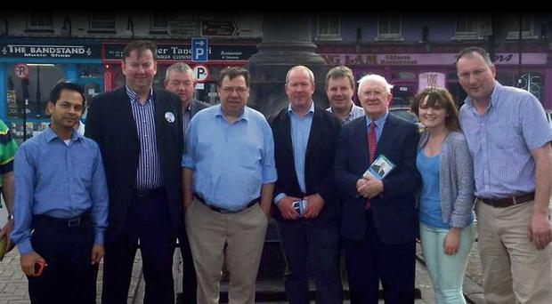 Look who's back: former Taoiseach Brian Cowen joined MEP Pat 'The Cope' Gallagher on the hustings in Tullamore at the weekend – the former leader's first high-profile contribution to the Fianna Fail campaign.