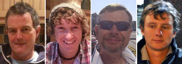 Paul Gosling, James Male, Steve Warren and Andrew Bridge who remain missing after the yacht 'Cheeki Rafiki' they were sailing to the UK in from a regatta in the Caribbean capsized in the mid-Atlantic Ocean. Photo: Royal Yachting Association/PA Wire