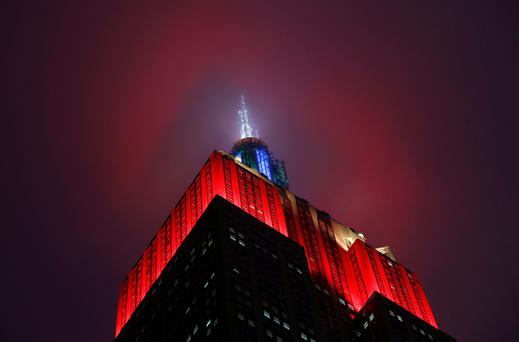 The Empire State building was lit in the colors of the Rubik's Cube on May 8. Reuters/Mike Segar