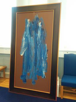 An Ocras Mór - The Irish Potato Famine, Acrylic on vinyl (with elaborate hand-carved wooden frame) by Riverdance star turned artist Michael Flatley
