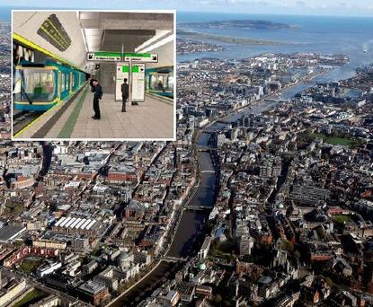 An aerial view of Dublin city. Inset: An artist's impression of what the new Metro North infrastructure might look like