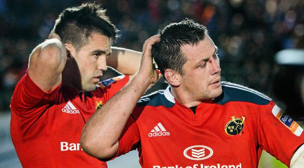 James Coughlan, right, and Conor Murray, Munster, react to their defeat to Glasgow Warriors