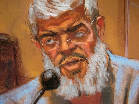 Abu Hamza al-Masri, the radical Islamist cleric facing U.S. terrorism charges, replies to questions from his defense lawyer Joshua Dratel (unseen) in Manhattan federal court in New York in this artist's sketch May 12, 2014. REUTERS/Jane Rosenberg