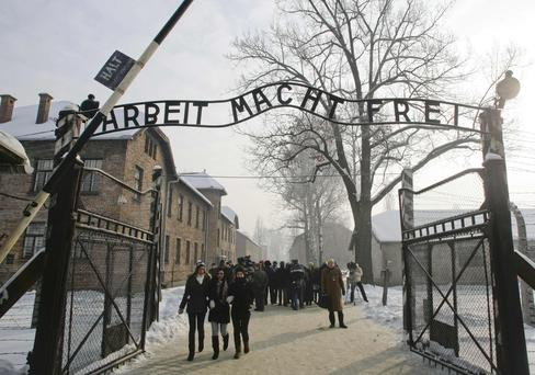 The sign above the entrance of Auschwitz - A Holocaust memoir was found to be written by an author who stayed at home safe in Belgium during World War 11.