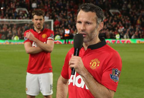 Interim Manager Ryan Giggs of Manchester United addresses the crowd after the Barclays Premier League match between Manchester United and Hull City at Old Trafford. (Photo by John Peters/Man Utd via Getty Images)