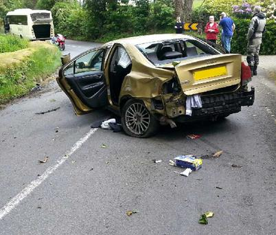 The scene of a crash at Clara Vale close to Laragh, Co.Wicklow where four men carjacked German tourists. Photo: Michael Kelly