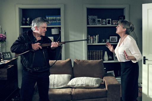 Tommy threatens Judy with the gun Photo: RTE