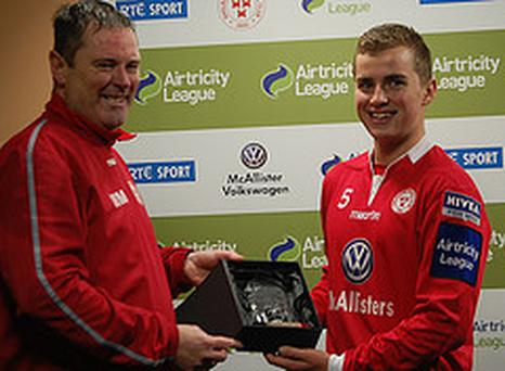 Ryan Robinson accepting the Airtricity League of Ireland Under-19 Player of the Month for September
