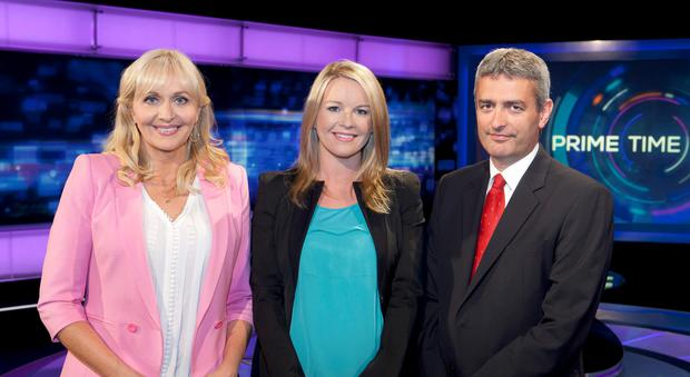 Prime Time Presenters Miriam O'Callaghan, Claire Byrne and David McCullagh in studio together.