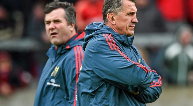 Rob Penney, right, had success in developing and bringing through a number of forwards at Munster