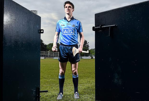 Danny Sutcliffe at the launch of AIG's Dublin jersey promotion at Parnell Park yesterday