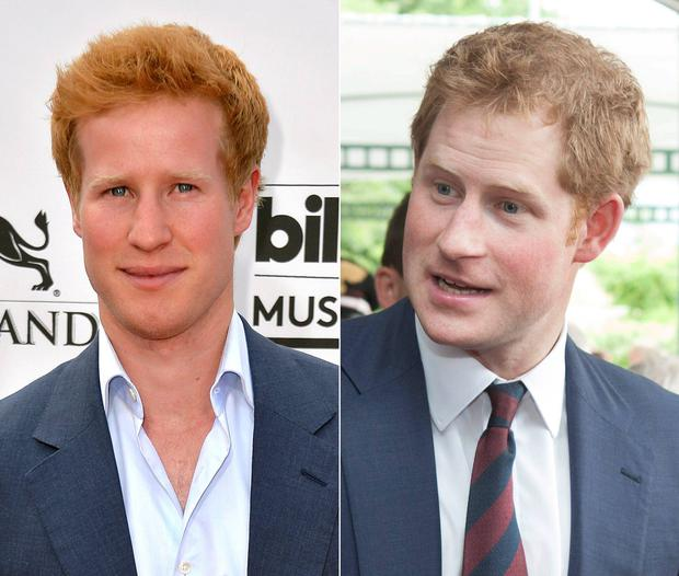 Star of 'I Wanna Marry Harry' Matthew Hicks, left, and Prince Harry.