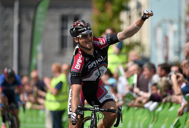 Jan Sokol, Synergy Baku Cycling, celebrates winning Stage 3 of the 2014 An Post Rás. Lisdoonvarna - Charleville. Picture credit: Ramsey Cardy / SPORTSFILE