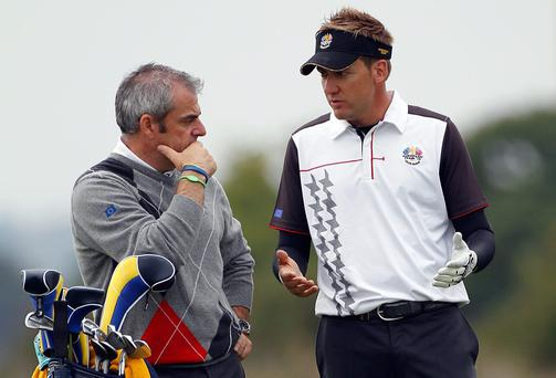 European captain Paul McGinley and Ian Poulter