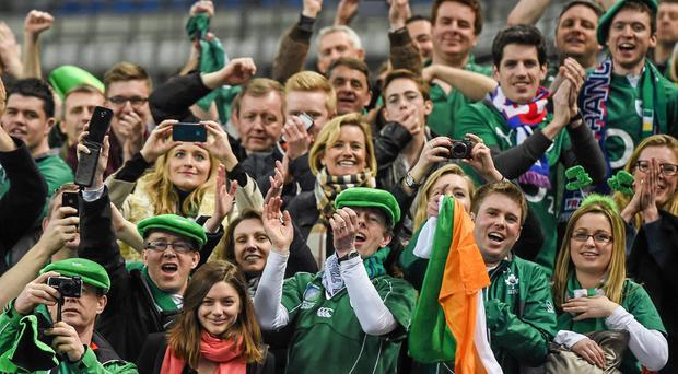 Ireland supporters celebrate at the RBS Six Nations Rugby Championship. Picture credit: Stephen McCarthy / SPORTSFILE