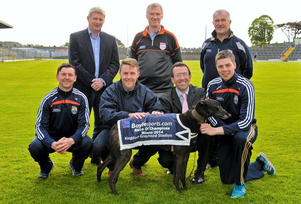 At the launch of the Race of Champions, which will be held in Tralee on June 8, were (from left) Front: John Egan, Leon Blanche, Declan Dowling, Shane Nolan. Back: Dermot Lynch, John O`Leary and Ger McCarthy