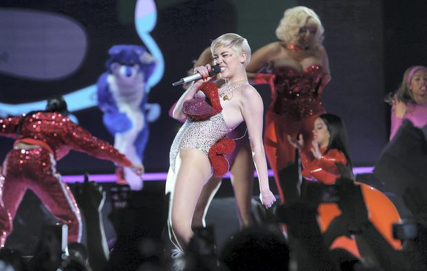 Miley Cyrus on stage at the O2 Picture: Steve Humphreys