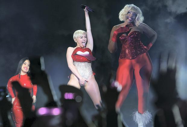 Miley Cyrus on stage at the O2 last night. Picture: Steve Humphreys